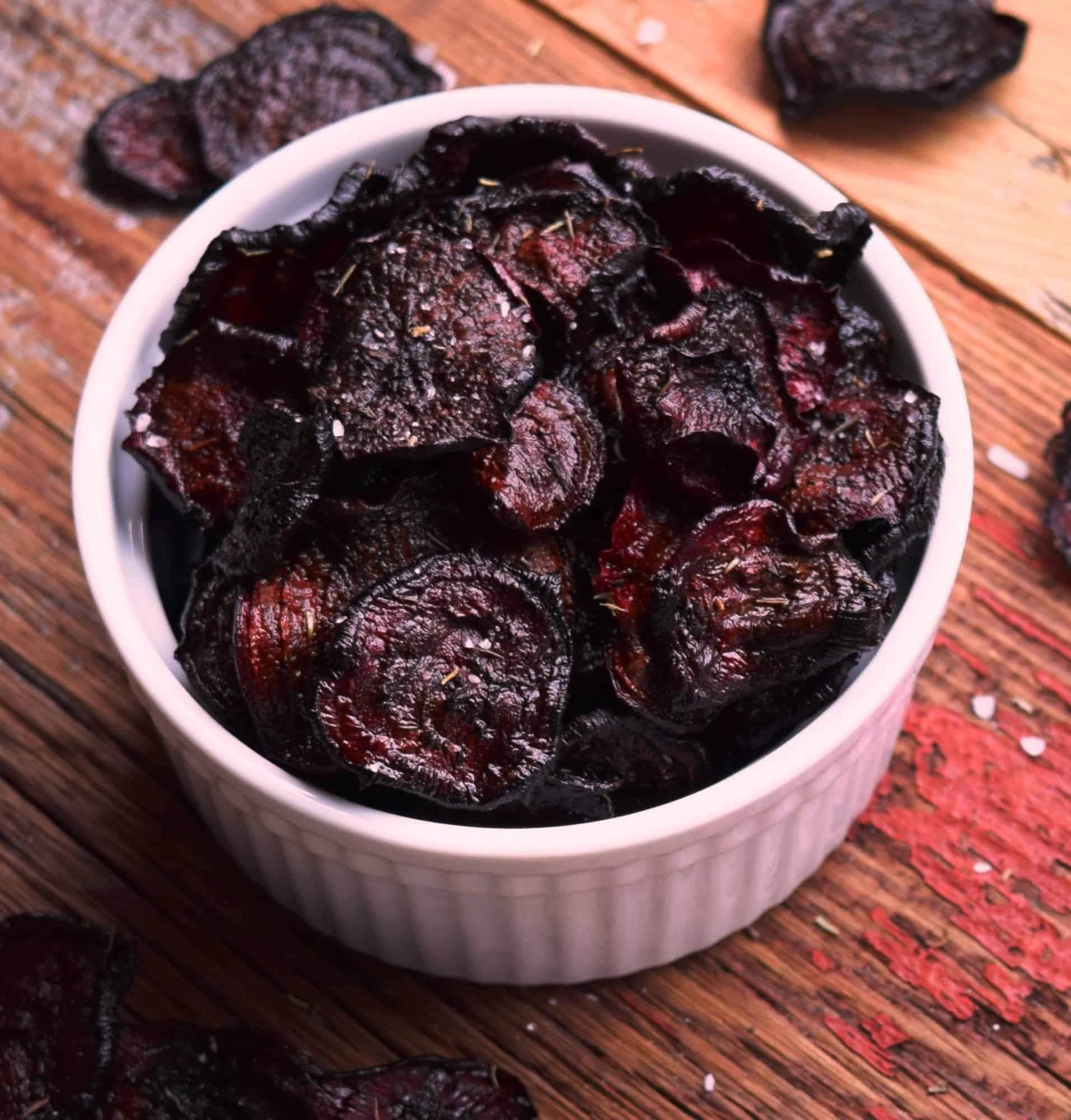 Salted Oven-Baked Beet Chips with Thyme
