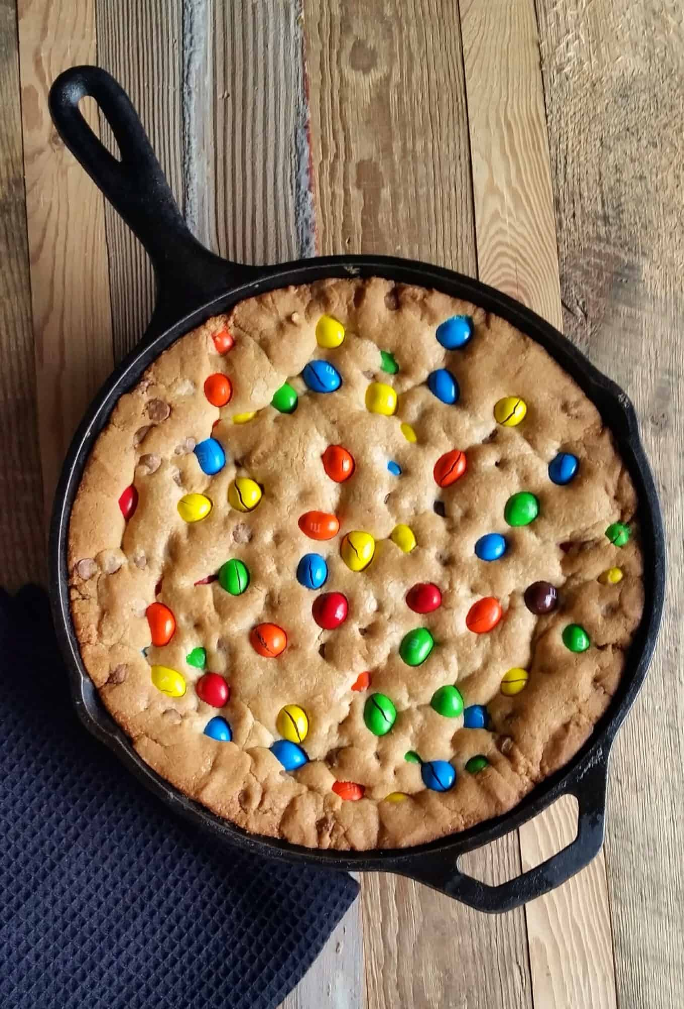 M&M Chocolate Chip Skillet Cookie - Lord Byron's Kitchen