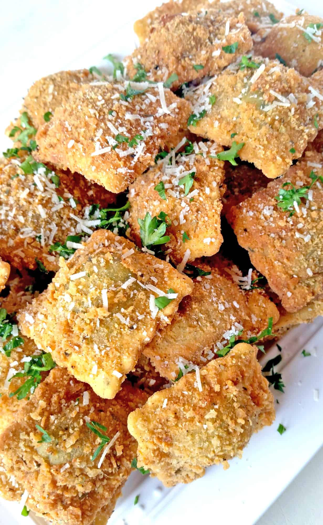 Fried Ravioli with Sun Dried Tomato and Parmesan Marinara