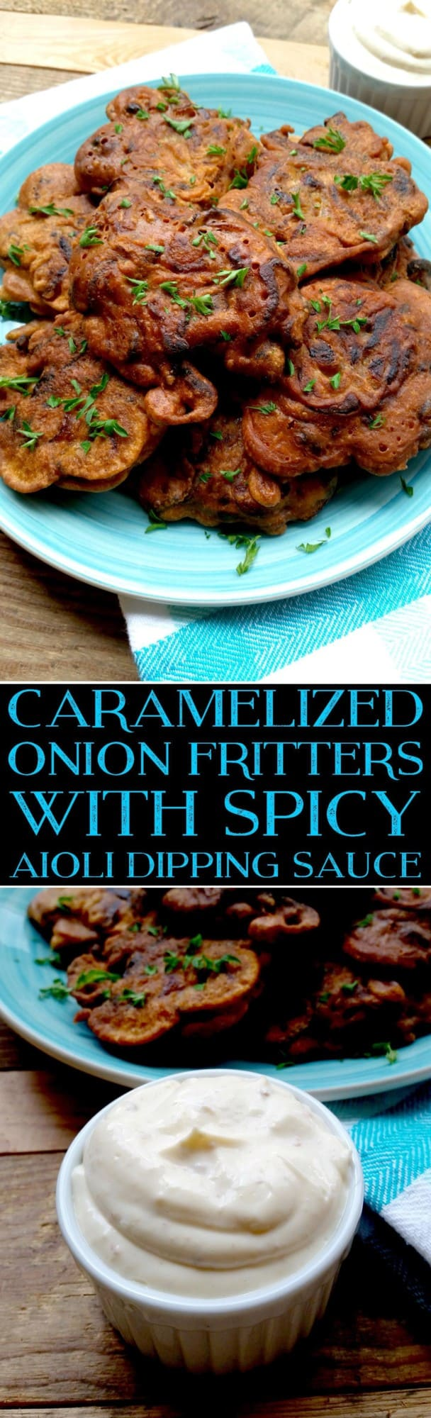 Caramelized Onion Fritters with Spicy Aioli Dipping Sauce 2