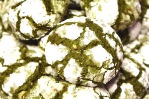 Green Velvet Mint Chip Crinkle Cookies