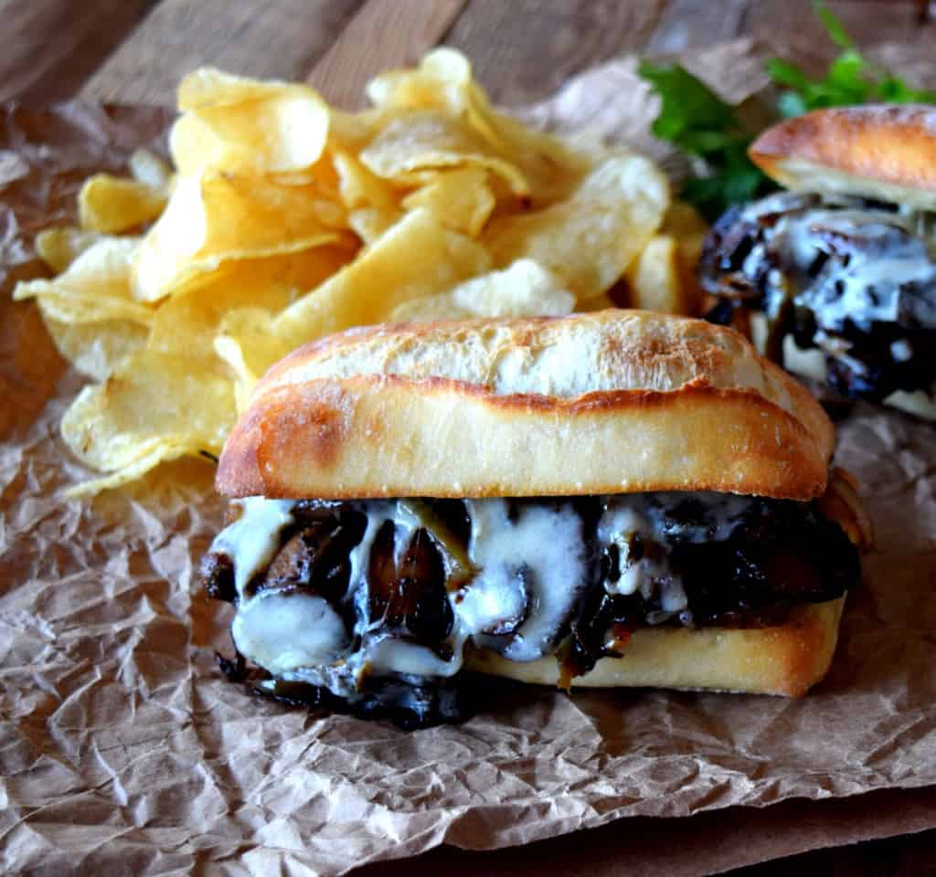 Philly Sauteed Mushroom Cheesesteak Sandwich