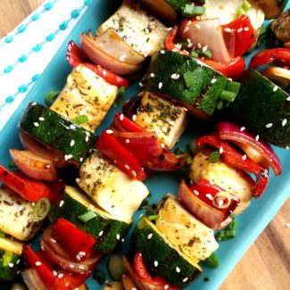 Herb And Garlic Halloumi Vegetable Skewers