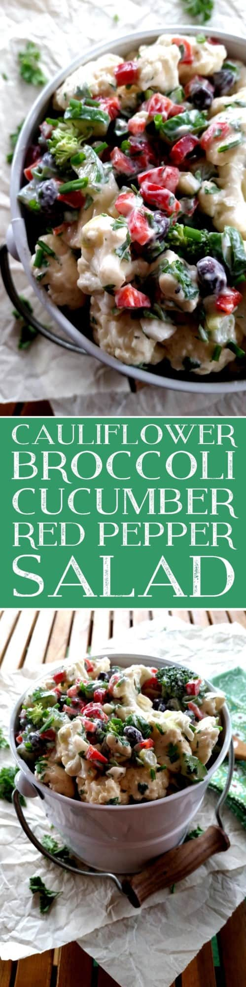Cauliflower Broccoli Cucumber Red Pepper Salad
