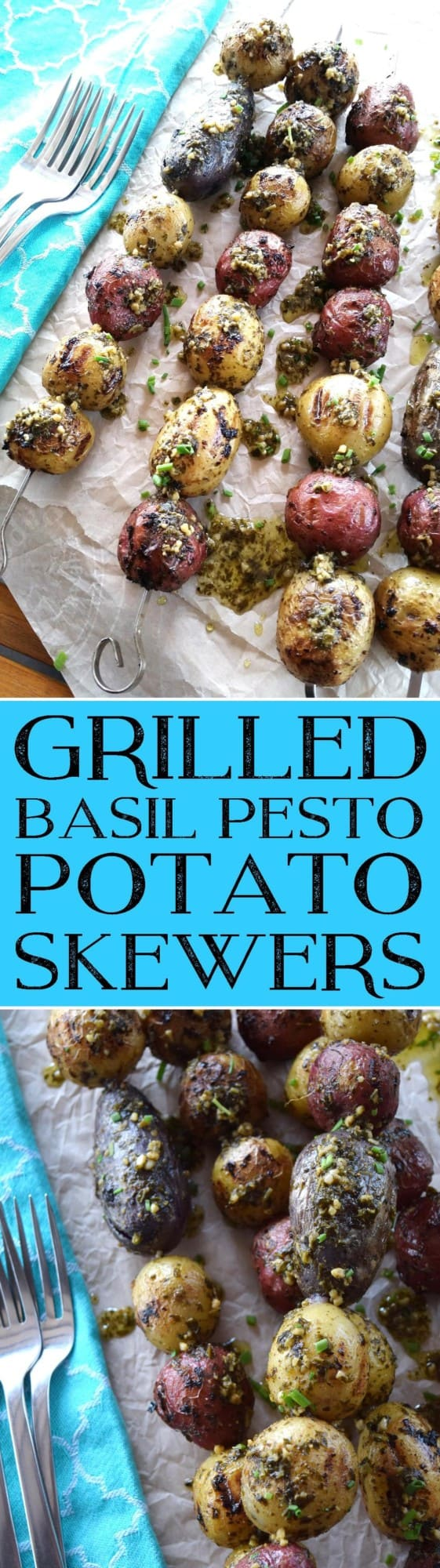 Grilled Basil Pesto Potato Skewers