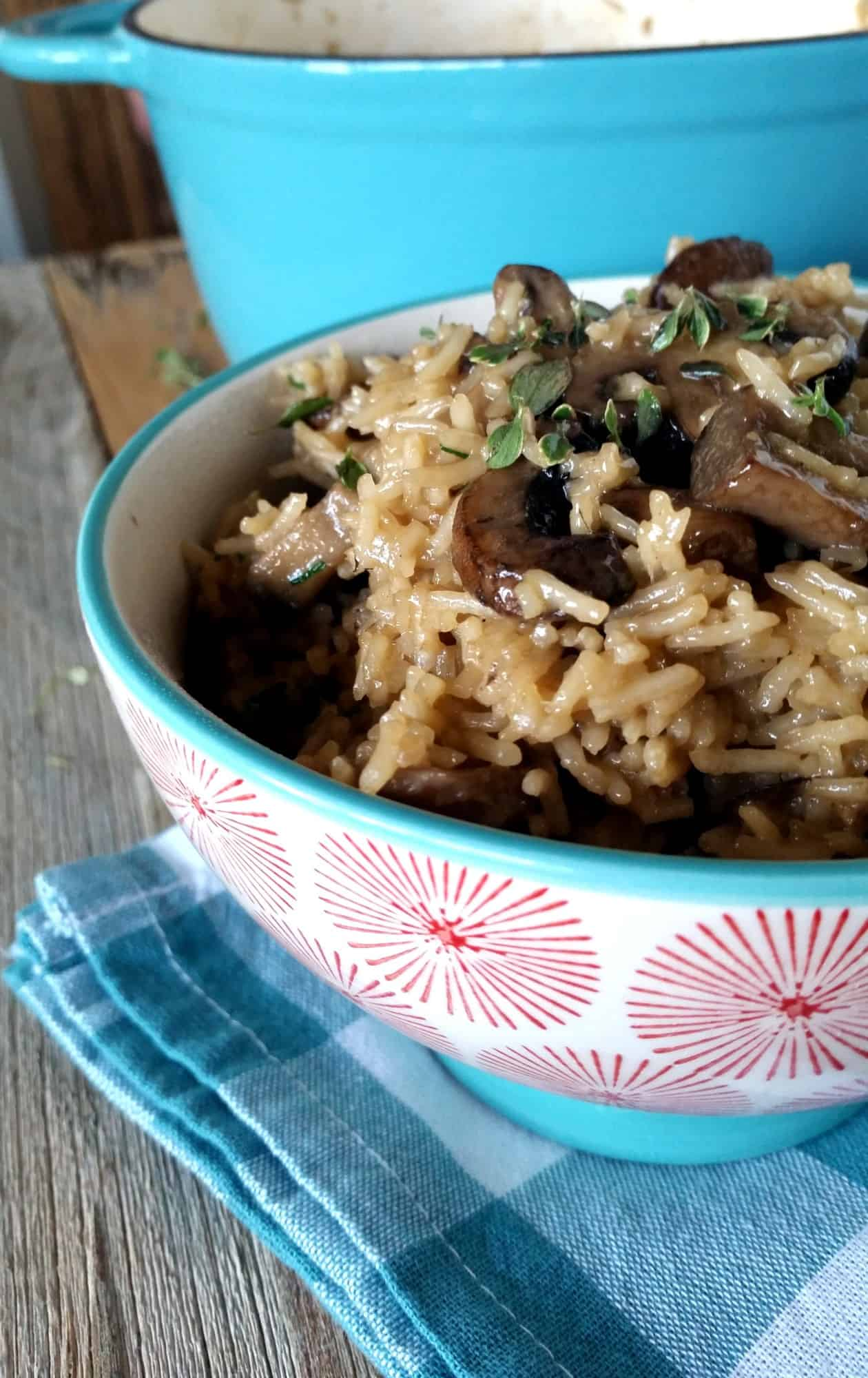 One Pot Basmati Rice And Mushrooms
